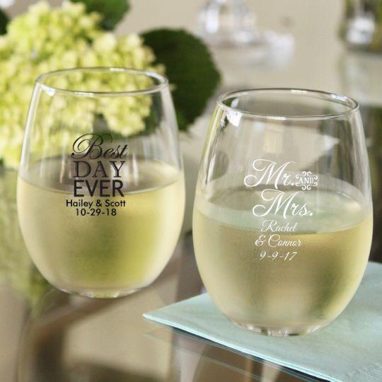 Personalized 15 Oz Wedding Words Stemless Wine Glasses Lafavoritafavors Com